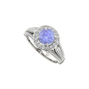 Marco B Split Shank Halo Engagement Rings with CZ Created Tanzanite