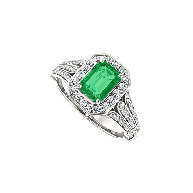 Green Split Shank Halo Engagement with Cz Created Emerald In 14k White Ring Green Split Shank Halo Engagement with Cz Created Emerald In 14k White Ring Image 1