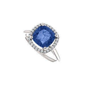 Marco B Halo Engagement Rings with CZ Created Sapphire in 14K White Gold 3.75