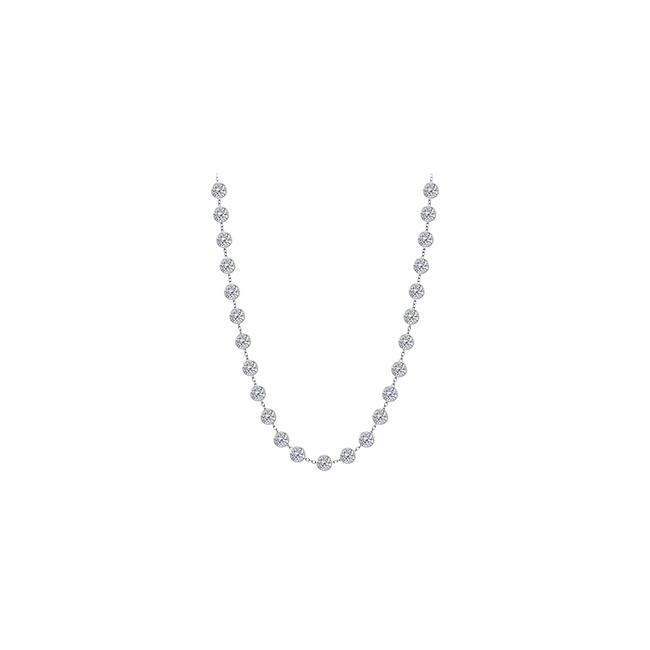 White Cubic Zirconia 925 Sterling Silver 4.00 Ct Tw Necklace White Cubic Zirconia 925 Sterling Silver 4.00 Ct Tw Necklace Image 1