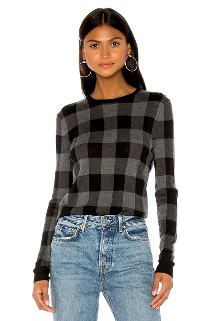 Preload https://img-static.tradesy.com/item/26022878/theory-plaid-silk-cashmere-blackgrey-with-tag-sweater-0-3-650-650.jpg