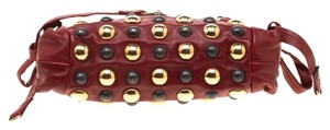 Gucci Leather Studded Red Clutch