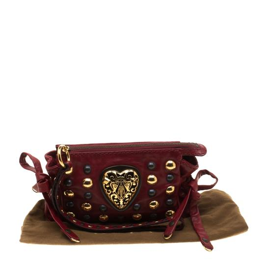 Gucci Leather Studded Red Clutch Image 10