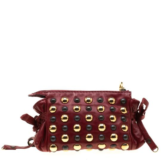 Gucci Leather Studded Red Clutch Image 2