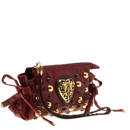 Gucci Leather Studded Red Clutch Image 3