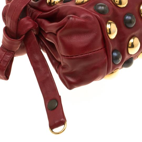 Gucci Leather Studded Red Clutch Image 5
