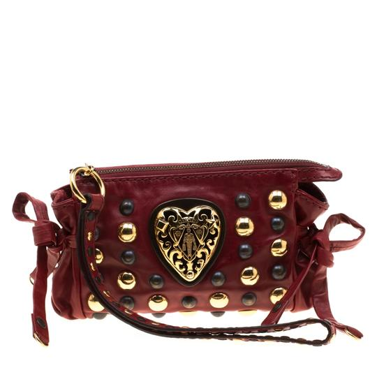 Gucci Leather Studded Red Clutch Image 6