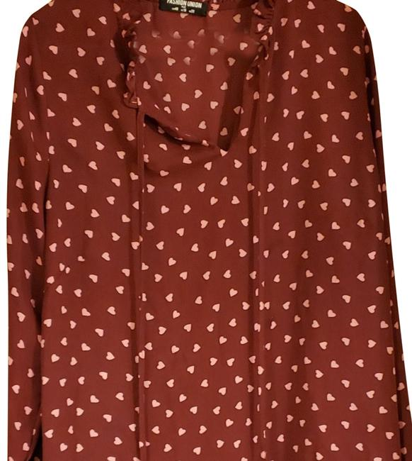 Preload https://img-static.tradesy.com/item/26023024/asos-cranberry-with-pink-hearts-tie-neck-blouse-size-16-xl-plus-0x-0-2-650-650.jpg