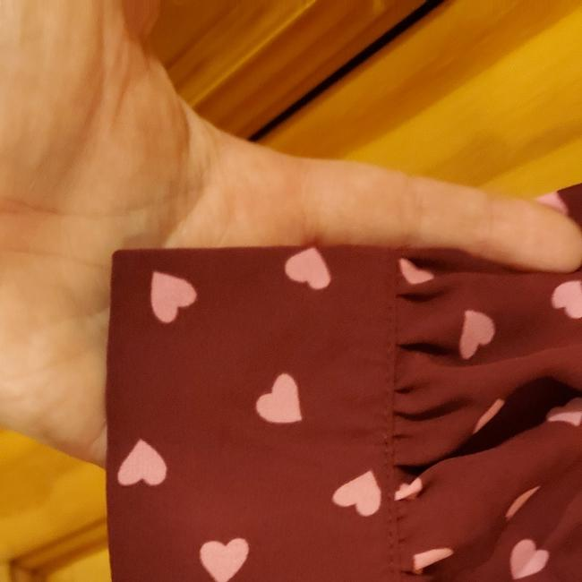 ASOS Top Cranberry with Pink Hearts Image 4