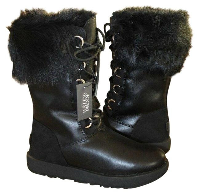UGG Australia Black Aya Tall Leather Toscana Fluff Boots/Booties Size US 7 Regular (M, B) UGG Australia Black Aya Tall Leather Toscana Fluff Boots/Booties Size US 7 Regular (M, B) Image 1