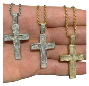 Harlembling Harlembling 925 Silver Cross Pendant Bust Down Crucifix Necklace