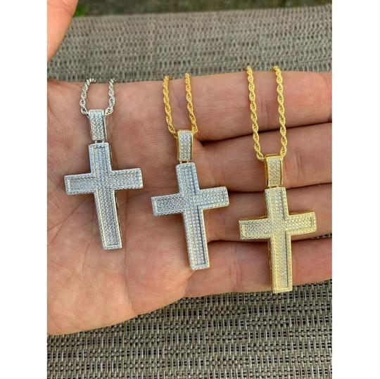 Harlembling Harlembling 925 Silver Cross Pendant Bust Down Crucifix Necklace Image 3