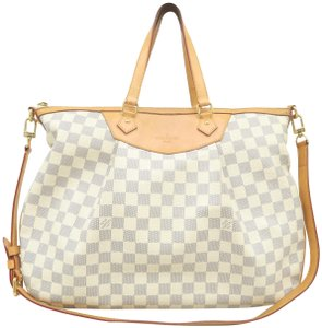 Louis Vuitton Lv Siracusa Azur Canvas Gm Satchel in White
