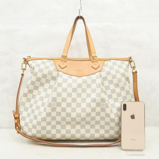 Louis Vuitton Lv Siracusa Azur Canvas Gm Satchel in White Image 1