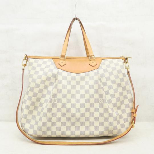 Louis Vuitton Lv Siracusa Azur Canvas Gm Satchel in White Image 2