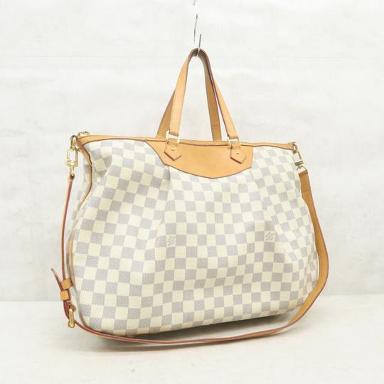 Louis Vuitton Lv Siracusa Azur Canvas Gm Satchel in White Image 3
