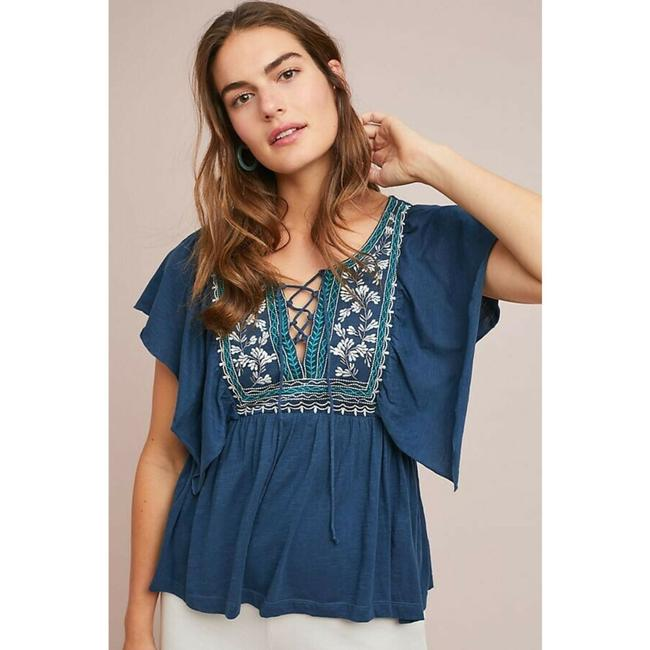 Anthropologie By Ranna Gill Top Blue Image 2