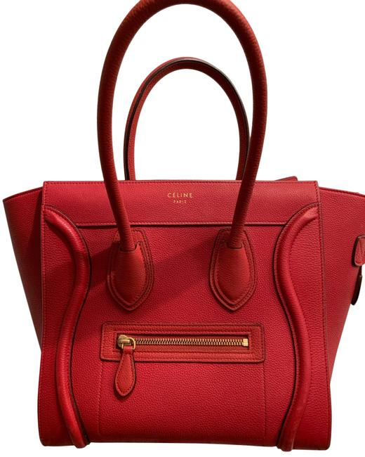 Céline Luggage Mini Red Grained Leather Tote Céline Luggage Mini Red Grained Leather Tote Image 1