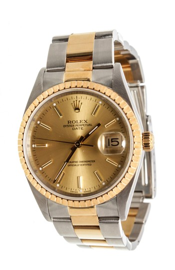 Preload https://img-static.tradesy.com/item/26023303/rolex-yellow-gold-2-tone-stainless-steel-date-watch-0-0-540-540.jpg