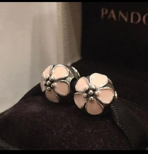 PANDORA Authentic Pandora Cherry Blossom Pale Pink Enamel Clips Charms Set Image 1