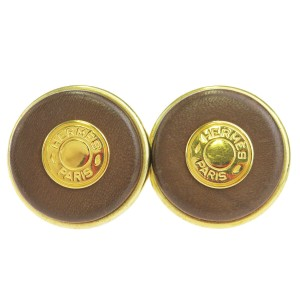 Hermès HERMES Sellier Button Earrings Button Style Gold Leather Clip-On