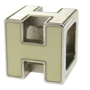 Hermès HERMES Logo H Cube Necklace Silver Plated Accessory Vintage