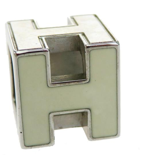 Hermès HERMES Logo H Cube Necklace Silver Plated Accessory Vintage Image 1