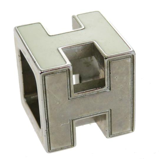 Hermès HERMES Logo H Cube Necklace Silver Plated Accessory Vintage Image 2
