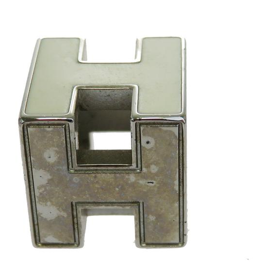 Hermès HERMES Logo H Cube Necklace Silver Plated Accessory Vintage Image 3