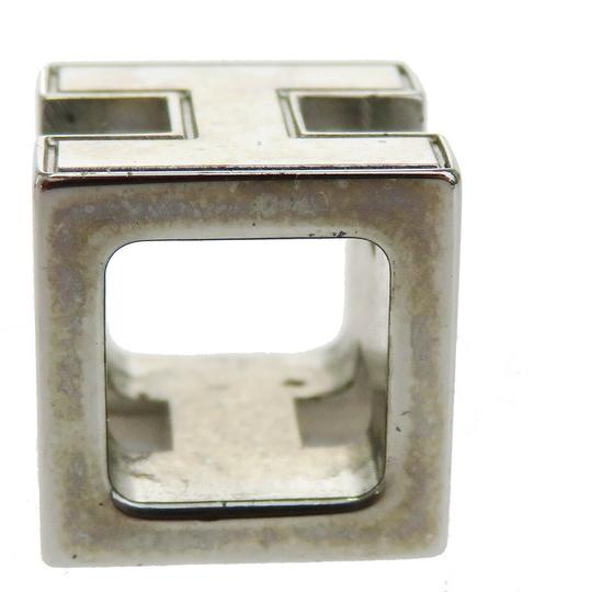 Hermès HERMES Logo H Cube Necklace Silver Plated Accessory Vintage Image 4