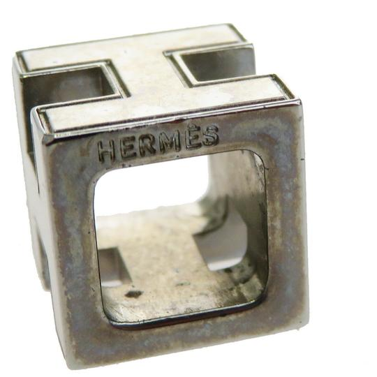 Hermès HERMES Logo H Cube Necklace Silver Plated Accessory Vintage Image 5