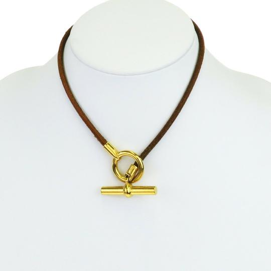 Hermès HERMES Logos Choker Necklace Leather Brown Gold Accessory Image 1