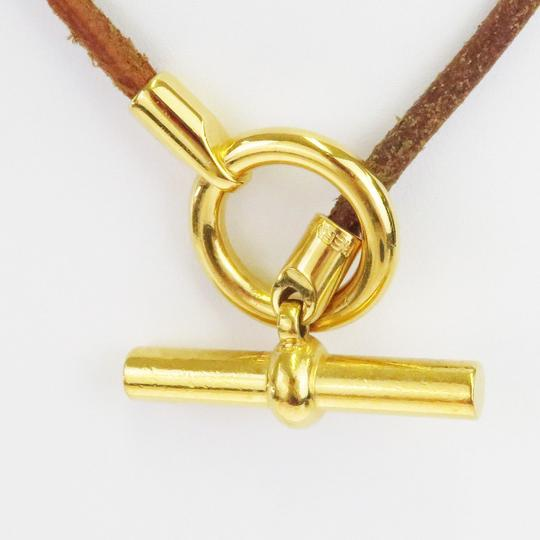 Hermès HERMES Logos Choker Necklace Leather Brown Gold Accessory Image 2