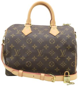 Louis Vuitton Speedy 25 Bandouliere Monogram Canvas Satchel in Brown