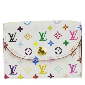 Louis Vuitton LOUIS VUITTON Bifold Pass Card Case Monogram Multi White