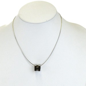 Hermès HERMES Logos H Cube Necklace Silver Plated Accessory Vintage