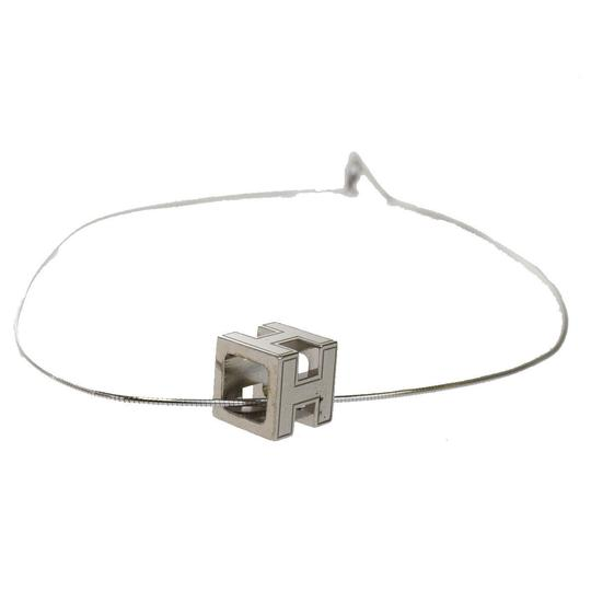 Hermès HERMES Logos H Cube Necklace Silver Plated Accessory Vintage Image 1