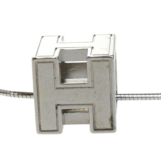 Hermès HERMES Logos H Cube Necklace Silver Plated Accessory Vintage Image 2