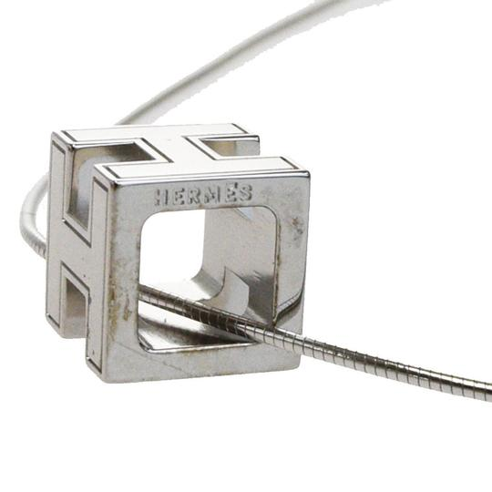 Hermès HERMES Logos H Cube Necklace Silver Plated Accessory Vintage Image 4