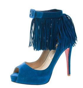 Christian Louboutin Suede Ankle Strap Peep Toe Blue Pumps