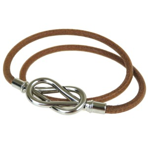 Hermès HERMES Bracelet Choker Bangle Leather Brown Silver Accessory