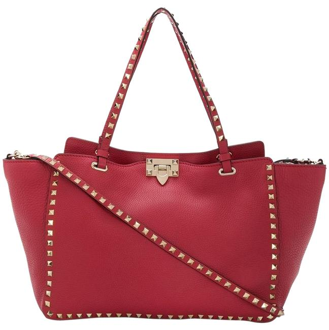 Valentino Spk New Rockstud Md Tote Hype Red Leather Shoulder Bag Valentino Spk New Rockstud Md Tote Hype Red Leather Shoulder Bag Image 1