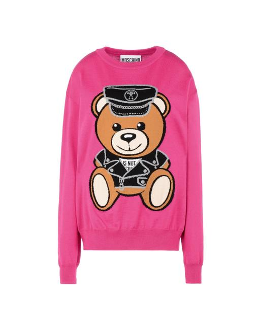 Preload https://img-static.tradesy.com/item/26023560/moschino-couture-collection-teddy-bear-policeman-size-s-fuschia-sweater-0-0-650-650.jpg