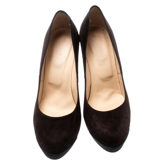 Tod's Suede Leather Brown Pumps Image 2
