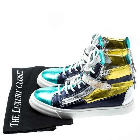 Giuseppe Zanotti Metallic Leather Multicolor Athletic Image 7