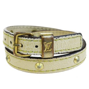 Louis Vuitton Lvory Studded Leather France Bracelet