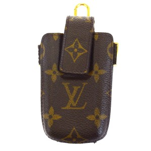 Louis Vuitton LOUIS VUITTON Etui Telephone Cell Phone Case Monogram Brown