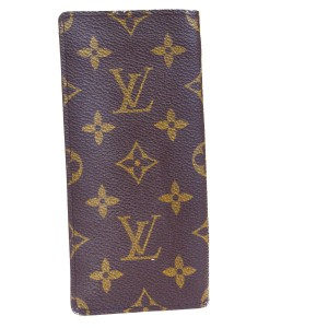 Louis Vuitton LOUIS VUITTON Simple Eye Glasses Case Monogram Brown