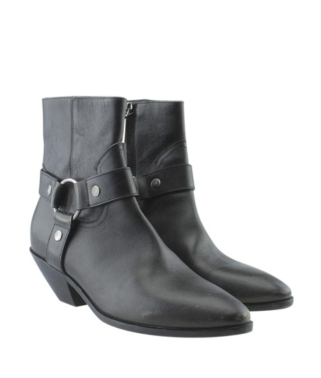 Saint Laurent Yves Ankle Leather Grey Boots Image 1