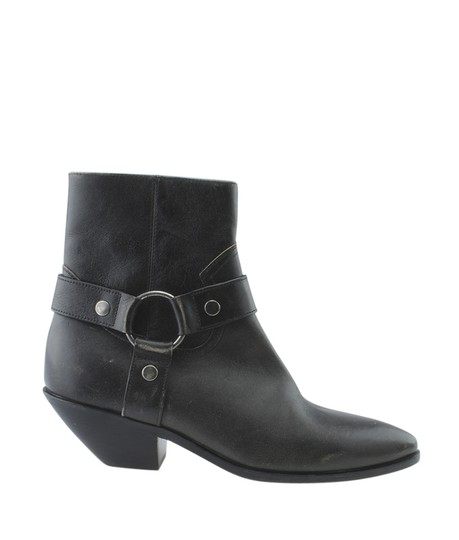 Saint Laurent Yves Ankle Leather Grey Boots Image 2